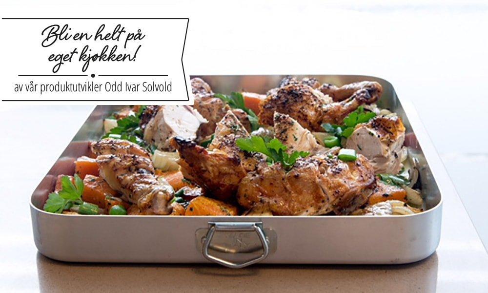 Bilde av kylling og søtpotet i form med løk.